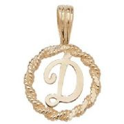 9ct Gold Round rope edged Initial letter D pendant 0.8g